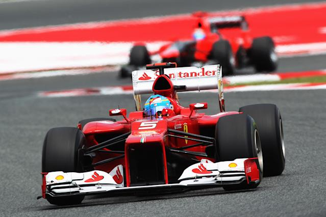 BARCELONA, SPAIN - MAY 13: Fernando Alonso of Spain and Ferrari drives during the Spanish Formula One Grand Prix at the Circuit de Catalunya on May 13, 2012 in Barcelona, Spain. (Photo by Mark Thompson/Getty Images)