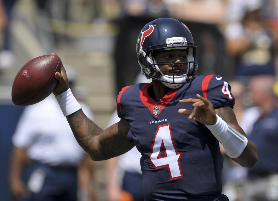 Houston Texans quarterback Deshaun Watson passes against the Los Angeles Rams during the first half in an NFL preseason football game Saturday, Aug. 25, 2018, in Los Angeles. (AP Photo/Mark J. Terrill)