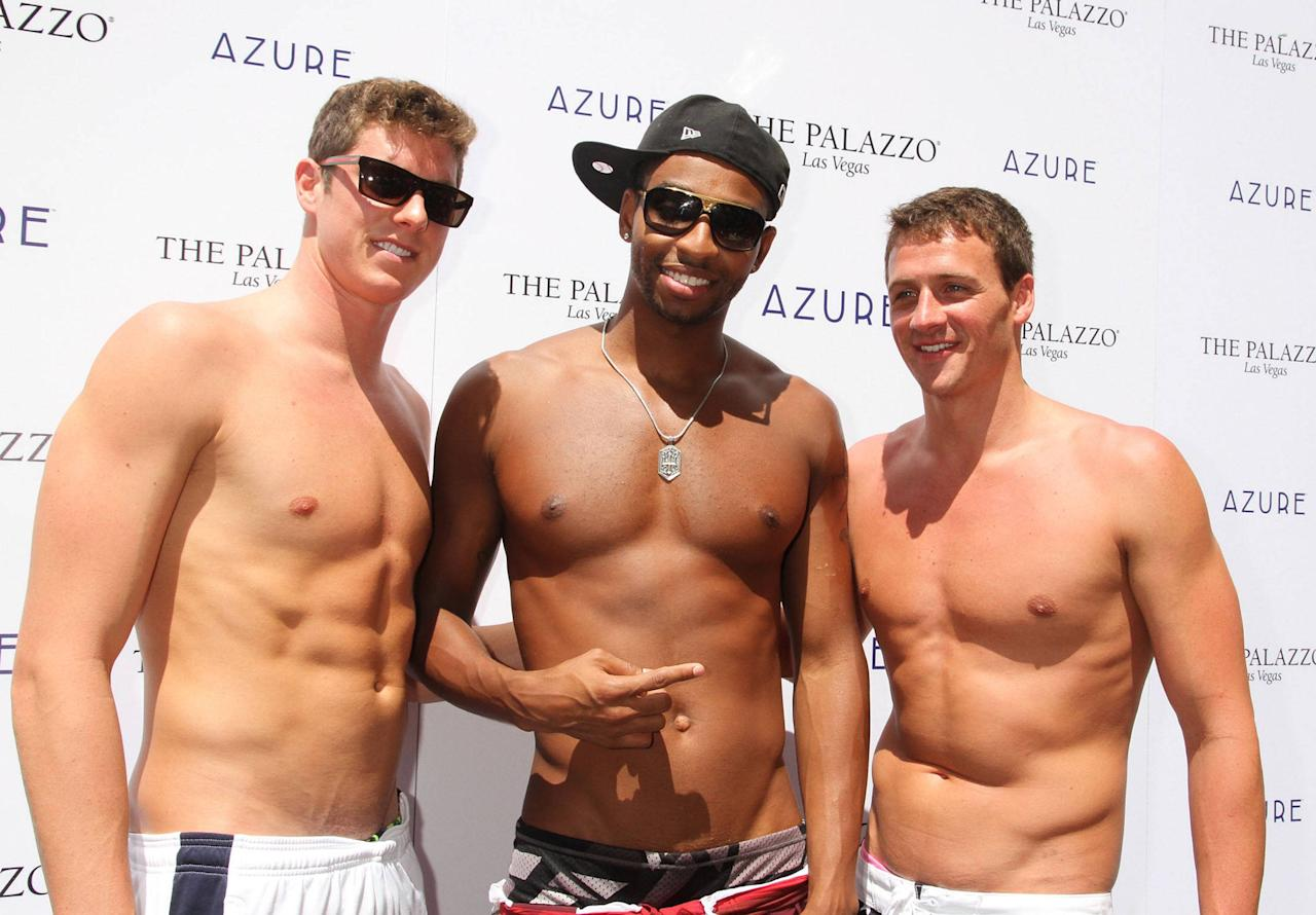 Conor Dwyer, Cullen Jones, Ryan Lochte swimmers celebrate their Olympic success by hosting a day at Azure Pool inside The Palazzo Resort Hotel & Casino Las Vegas, Nevada - 18.08.12 Credit: (Mandatory): DJDM / WENN.com