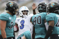 Buffalo wide receiver Quian Williams (3) celebrates a first down catch during the first half of a NCAA college football game against the Coastal Carolina in Buffalo, N.Y. on Saturday, Sept. 18, 2021. (AP Photo/Joshua Bessex)