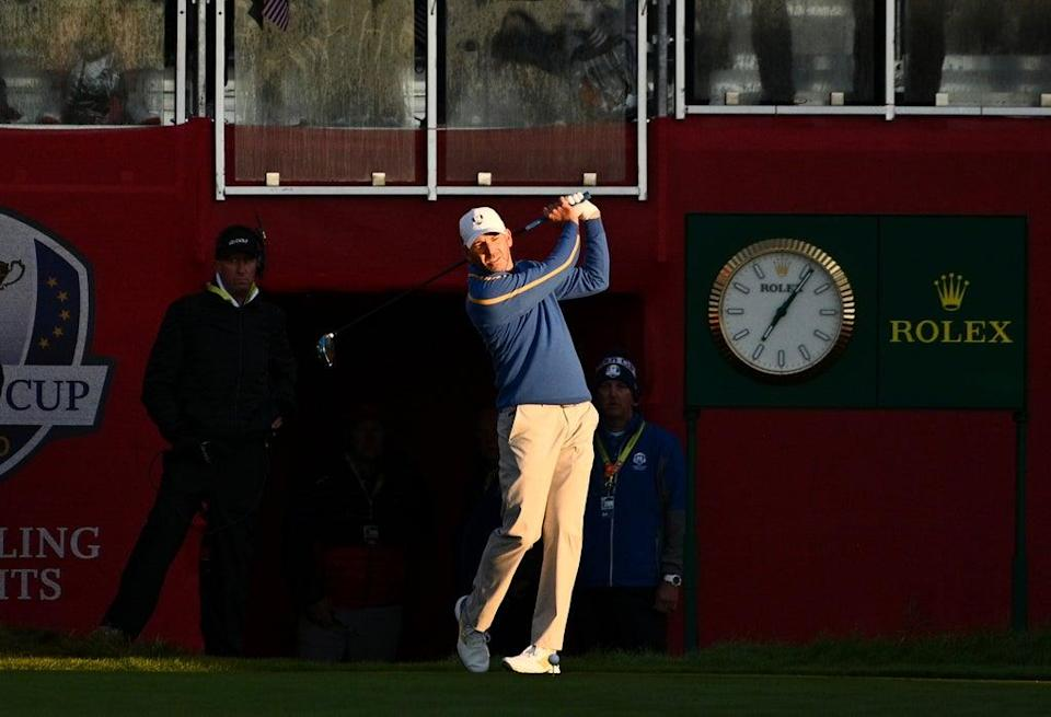 Europe's Sergio Garcia on the first tee (Anthony Behar/PA) (PA Wire)