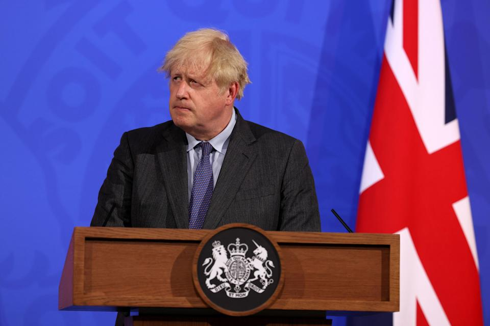 Boris Johnson during a media briefing in Downing Street on Monday evening (PA)