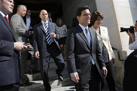 Cantor and Rodgers arrive to lead House Republicans in a news conference at the U.S. Capitol in Washington