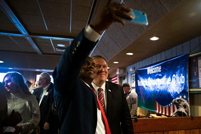 State Rep. Eddie Andrews, R-Johnston, takes a selfie with former U.S. Secretary of State Mike Pompeo on Friday, March 26, 2021, at the Machine Shed in Urbandale, Iowa.