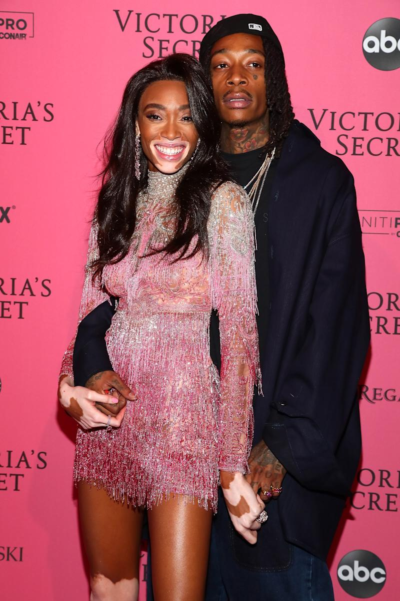 Winnie Harlow and Wiz Khalifa Make Red Carpet Couples Debut at the Victoria's Secret Fashion Show