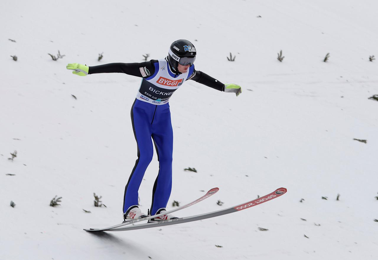 Kevin Bickner from USA lands in the first round of FIS Ski Jumping World Cup, Men's HS225 in Vikersund, 19 March, 2017. NTB Scanpix/Terje Bendiksby/via REUTERS ATTENTION EDITORS - THIS IMAGE WAS PROVIDED BY A THIRD PARTY. EDITORIAL USE ONLY. NORWAY OUT.