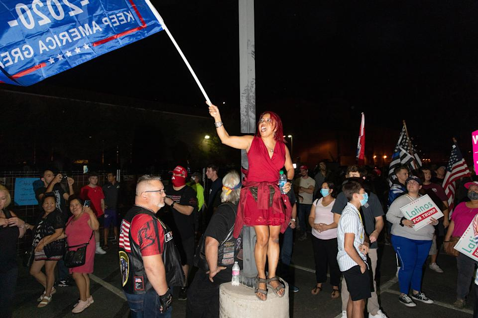 """Trump supporters at the Maricopa County Elections office in Phoenix, Ariz., on Nov. 5, 2020.<span class=""""copyright"""">Sinna Nasseri for TIME</span>"""