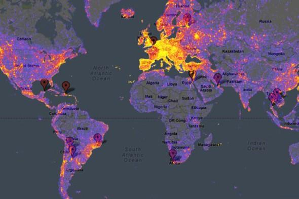 Clever heatmap of the world helps you avoid other tourists