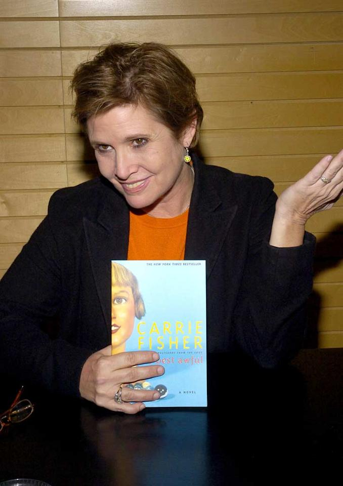 "Carrie Fisher's latest book, the autobiographical <i>Wishful Drinking</i>, was published in 2008, but her success as an author began in the mid 1980's when she wrote the Pen Award-winning bestseller, <i>Postcards from the Edge</i>, which she later adapted into a movie of the same name. John Heller/<a href=""http://www.wireimage.com"" target=""new"">WireImage.com</a> - January 20, 2005"