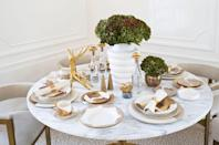 """<p>""""Gold accents bring a beautiful layer of richness and elevated living to an Easter brunch table setting. Gold doesn't need to be exclusive to the winter holidays—it is festive any time of the year."""" <em>—<a href=""""http://www.kellywearstler.com/on/demandware.store/Sites-KellyWearstler-Site/default/Default-Start"""" rel=""""nofollow noopener"""" target=""""_blank"""" data-ylk=""""slk:Kelly Wearstler"""" class=""""link rapid-noclick-resp"""">Kelly Wearstler</a>, Interior Designer</em></p>"""