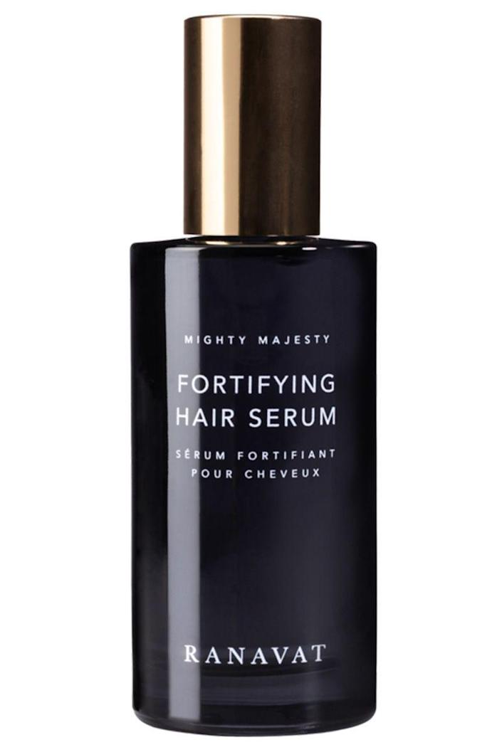 """<p><strong>Ranavat</strong></p><p>ranavat.com</p><p><strong>$70.00</strong></p><p><a href=""""https://www.ranavat.com/products/mighty-majesty-fortifying-hair-serum"""" rel=""""nofollow noopener"""" target=""""_blank"""" data-ylk=""""slk:Shop Now"""" class=""""link rapid-noclick-resp"""">Shop Now</a></p><p>Ranavat's luxurious and lightweight hair serum is formulated with only three ingredients: sunflower oil, jasmine oil, and amla extract. Still, its benefits are impressive—use it if you want to keep breakage away and fortify dry hair and scalp. (Plus, it smells like a jasmine perfume for your hair.) </p>"""