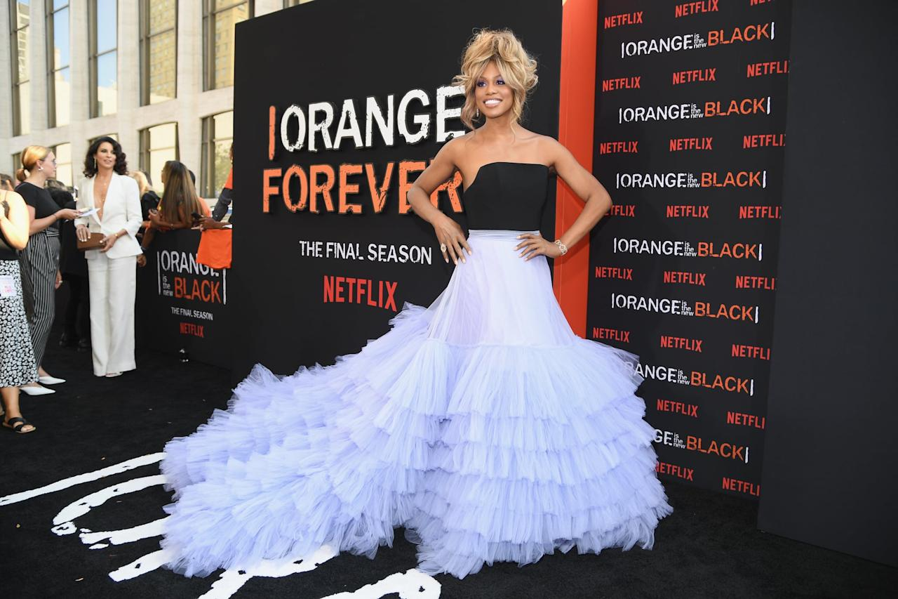 Um, Wow - Laverne Cox Looks Like the Chicest Cloud I've Ever Seen in This Christian Siriano Gown