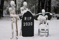 Snow falls on masked skeletons ready to bury the year 2020, Friday, Oct. 30, 2020, on a lawn in North Andover, Mass. (AP Photo/Elise Amendola)