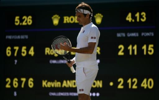 Stunned: Roger Federer on the verge of defeat to Kevin Anderson