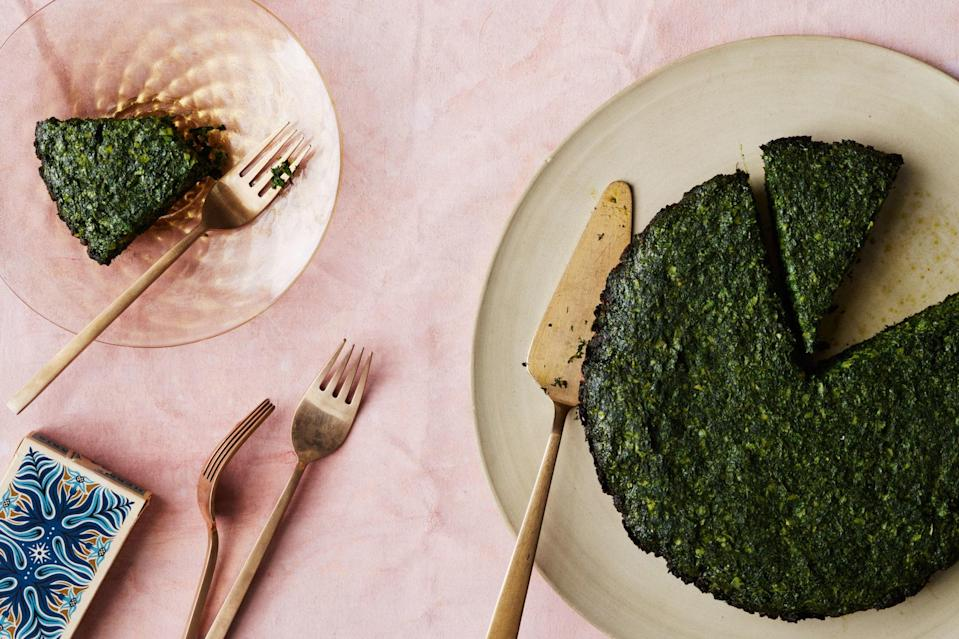 """Kuku sabzi is the ideal clean-out-the-crisper recipe, since it's like a frittata, but leans more heavily on hearty greens and herbs than eggs. <a href=""""https://www.epicurious.com/recipes/food/views/persian-herb-and-leek-frittata?mbid=synd_yahoo_rss"""" rel=""""nofollow noopener"""" target=""""_blank"""" data-ylk=""""slk:See recipe."""" class=""""link rapid-noclick-resp"""">See recipe.</a>"""