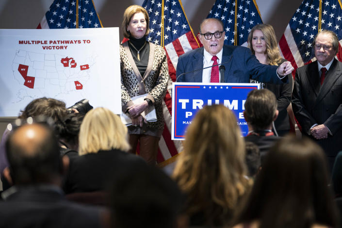 Rudy Giuliani, lawyer for President Trump, at a news conference in Washington, D.C., on Thursday. (Sarah Silbiger for the Washington Post via Getty Images)
