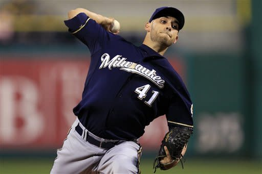 Milwaukee Brewers starting pitcher Marco Estrada (41) delivers during the first inning of a baseball game against the Pittsburgh Pirates in Pittsburgh, Wednesday, Sept. 19, 2012. (AP Photo/Gene J. Puskar)