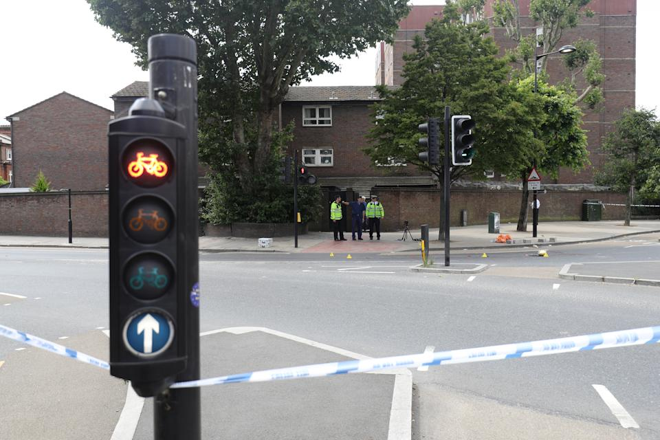 The scene in Battersea, south-west London, where woman has died after being struck by a lorry while riding a scooter.
