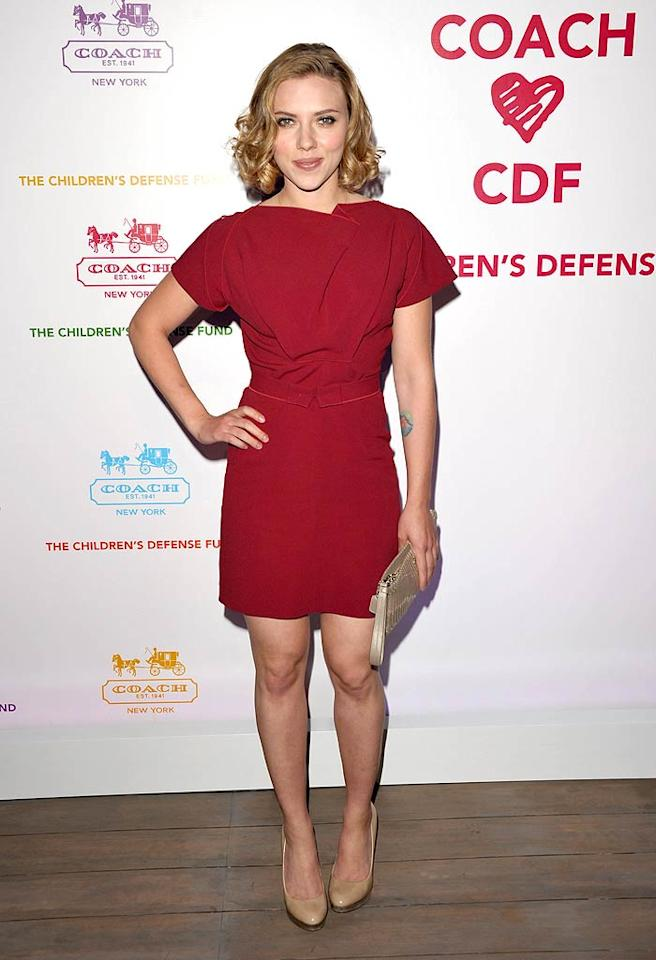 "Also looking lovely in a red ... Sean Penn's main squeeze, Scarlett Johansson, who rocked a Roland Mouret fall 2011 mini, nude patent leather pumps, and bouncy curls for a night of cocktails and shopping at Coach's Benefit for the Children's Defense Fund at Bad Robot in Santa Monica, California. John Shearer/<a href=""http://www.gettyimages.com/"" target=""new"">GettyImages.com</a> - April 20, 2011"
