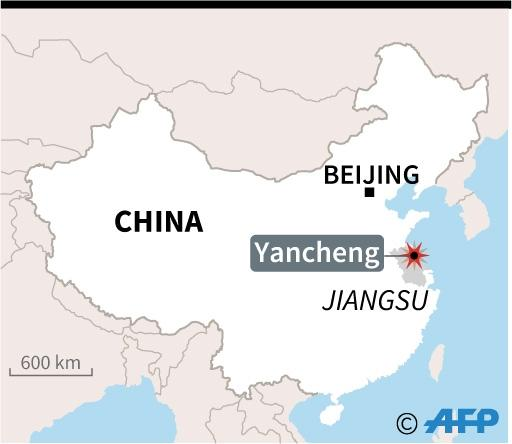 Map of China locating Yancheng, where a blast rocked a chemical plant Thursday. (AFP Photo/)