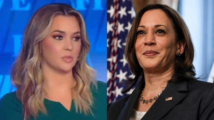 Fox News Channel's Katie Pavlich (left) said Vice President Kamala Harris (right) was chosen for the office because of her gender and her race. (Photos by Twitter and Anna Moneymaker/Getty Images)