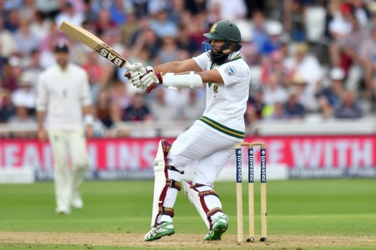 South Africa's Hashim Amla plays a shot at Trent Bridge on July 16, 2017