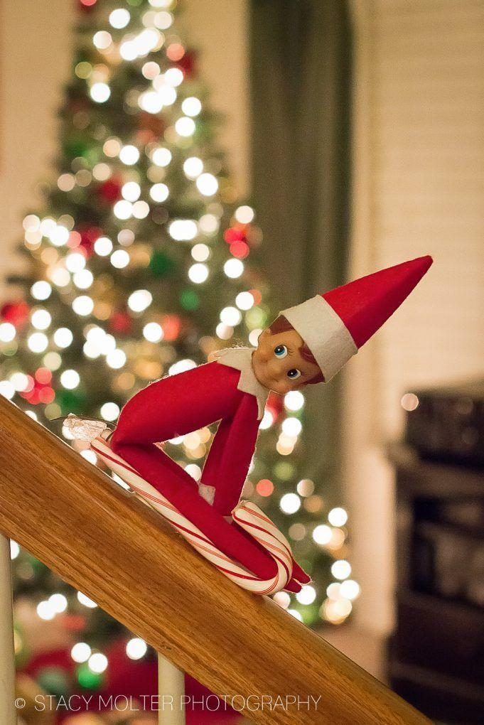 """<p>Come to think of it, candy canes <em>do</em> look like sleds! Let your Elf travel quickly down your banisters with this fun idea.</p><p><strong>Get the tutorial at <a href=""""https://californiaunpublished.com/45-amazingly-easy-elf-on-the-shelf-ideas-for-busy-moms/"""" rel=""""nofollow noopener"""" target=""""_blank"""" data-ylk=""""slk:California Unpublished"""" class=""""link rapid-noclick-resp"""">California Unpublished</a>.</strong></p>"""