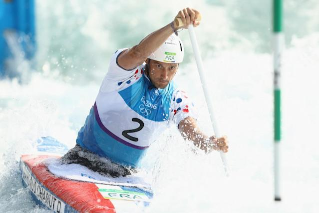 <p>Denis Gargaud Chanut of France competes during the Canoe Single (C1) Men's Semifinal on Day 4 of the Rio 2016 Olympic Games at the Whitewater Stadium on August 9, 2016 in Rio de Janeiro, Brazil. (Photo by Mark Kolbe/Getty Images) </p>