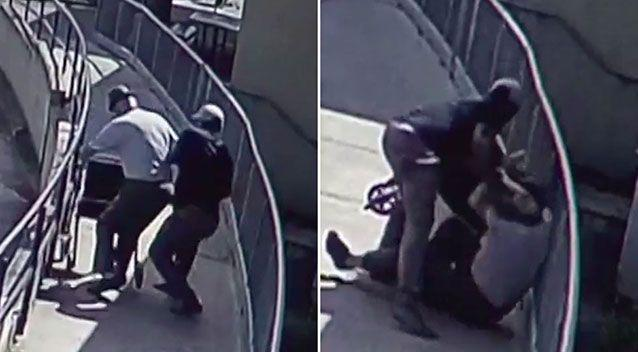 As the thief grabs Mr Browne's wallet, the pensioner falls to the ground. Source: 7 News