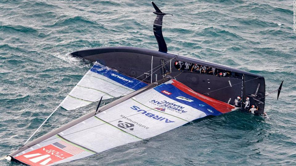 """<p>United States' American Magic capsizes during it's race against Italy's Luna Rossa on the third day of racing of the America's Cup challenger series on Auckland's Waitemate Harbour, New Zealand, Sunday, Jan. 17, 2021. (COR 36 Studio Borlenghi via AP)</p><div class=""""cnn--image__credit""""><em><small>Credit: COR 36 Studio Borlenghi/AP / AP licensed</small></em></div>"""