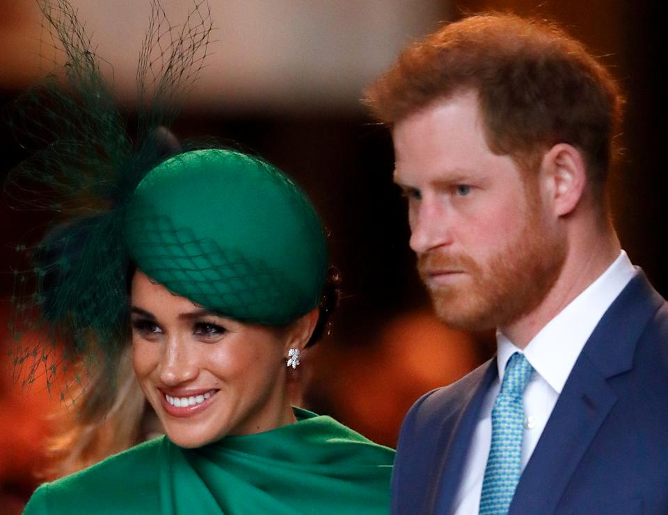 LONDON, UNITED KINGDOM - MARCH 09: (EMBARGOED FOR PUBLICATION IN UK NEWSPAPERS UNTIL 24 HOURS AFTER CREATE DATE AND TIME) Meghan, Duchess of Sussex and Prince Harry, Duke of Sussex attend the Commonwealth Day Service 2020 at Westminster Abbey on March 9, 2020 in London, England. The Commonwealth represents 2.4 billion people and 54 countries, working in collaboration towards shared economic, environmental, social and democratic goals. (Photo by Max Mumby/Indigo/Getty Images)