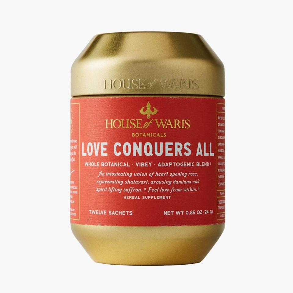 """Everything Waris Ahluwalia does is simply the best—his line of teas, House of Waris, included. $30, House of Waris. <a href=""""https://houseofwaris.com/collections/functionals/products/love-conquers-all"""" rel=""""nofollow noopener"""" target=""""_blank"""" data-ylk=""""slk:Get it now!"""" class=""""link rapid-noclick-resp"""">Get it now!</a>"""