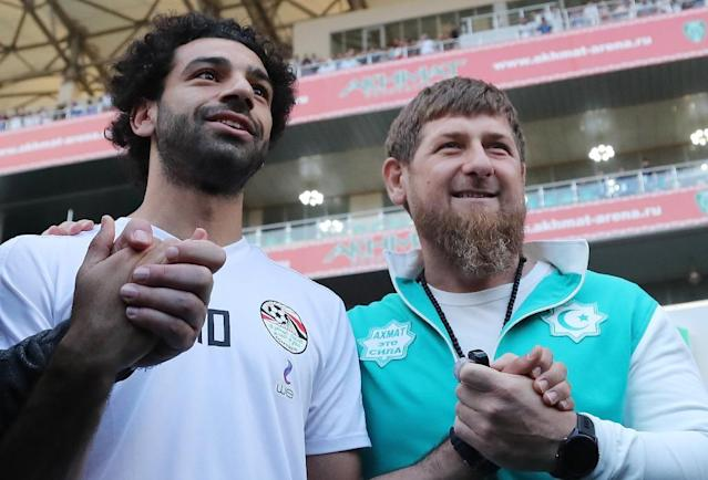 Salah has been photographed smiling and clasping hands with Kadyrov during the tournament (AFP Photo/KARIM JAAFAR)
