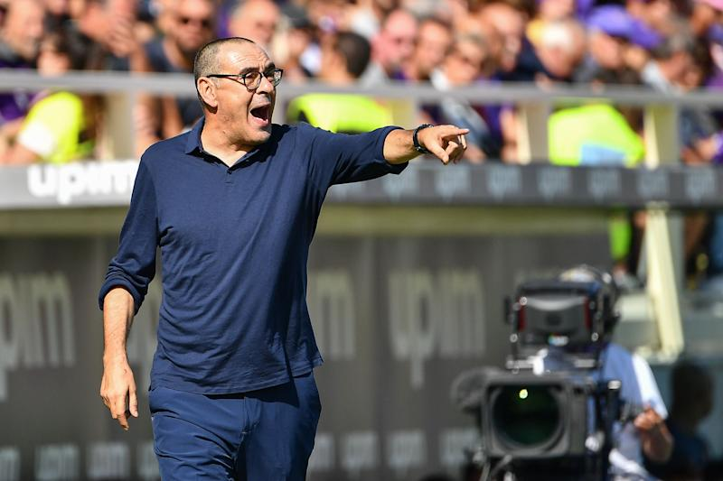 Juventus' Italian coach Maurizio Sarri gives instructions during the Italian Serie A football match Fiorentina vs Juventus on September 14, 2019 at the Artemio-Franchi stadium in Florence. (Photo by Vincenzo PINTO / AFP) (Photo credit should read VINCENZO PINTO/AFP/Getty Images)