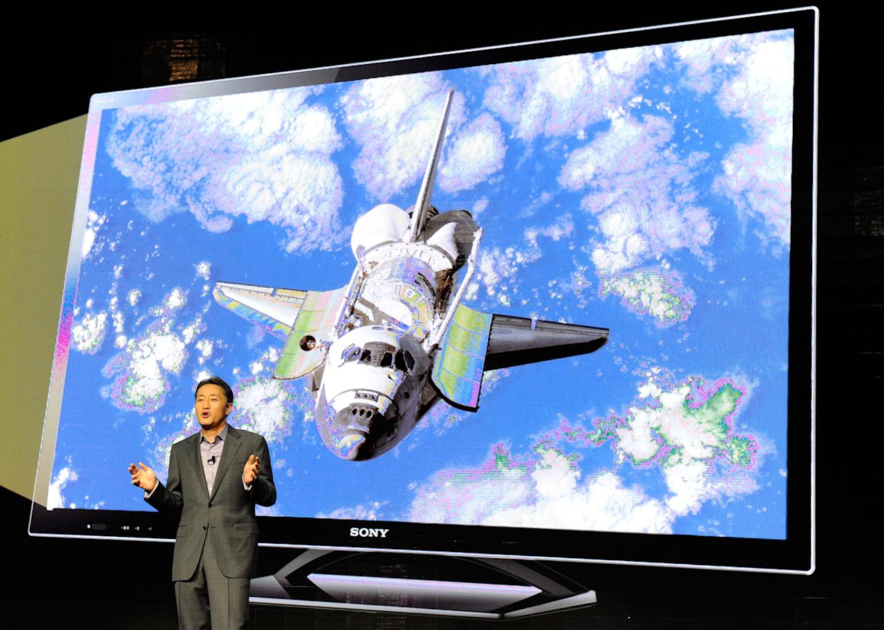 LAS VEGAS, NV - JANUARY 09:  Sony Corp. Executive Deputy President Kazuo Hirai demonstrates Sony's X-Reality picture processing engine during a Sony press event at the Las Vegas Convention Center for the 2012 International Consumer Electronics Show January 9, 2012 in Las Vegas, Nevada. CES, the world's largest annual consumer technology trade show, runs from January 10-13 and is expected to feature 2,700 exhibitors showing off their latest products and services to about 140,000 attendees.  (Photo by Ethan Miller/Getty Images)