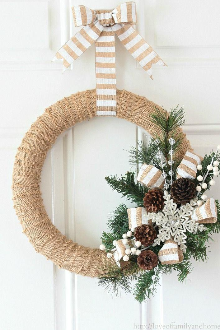 "<p>A burst of pinecones, pine, and a sparkly snowflake makes the rustic holiday wreath of our dreams.</p><p>Get the tutorial at <a href=""https://loveoffamilyandhome.net/2013/12/burlap-christmas-wreath-tutorial.html"" rel=""nofollow noopener"" target=""_blank"" data-ylk=""slk:Love of Family and Home"" class=""link rapid-noclick-resp"">Love of Family and Home</a>.</p>"