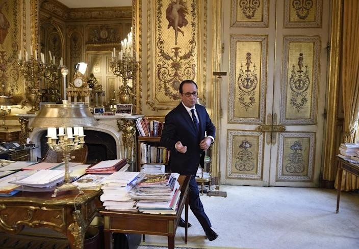 French President Francois Hollande, seen in February 2016, had some of the lowest approval ratings for a French president since World War II (AFP Photo/ERIC FEFERBERG)