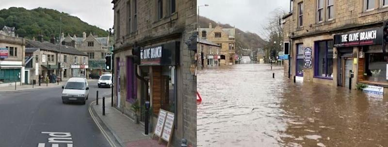 West End, Hebden Bridge, West Yorkshire on a normal day, versus on February 9, 2020 (Photo: Google Images / The Afghan Rug Shop/Reuters)