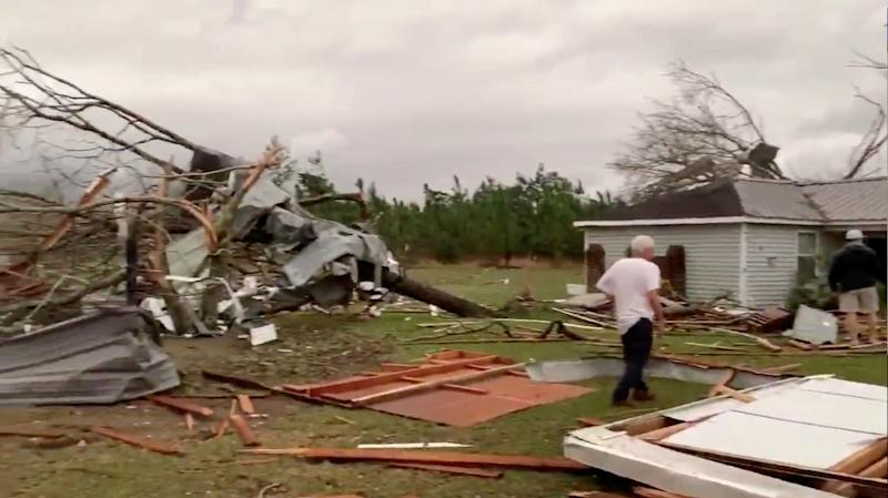 Debris of housing seen following a tornado in Beauregard, Alabama, U.S. in this March 3, 2019 still image obtained from social media video. (Photo: Scott Fillmer /via Reuters)