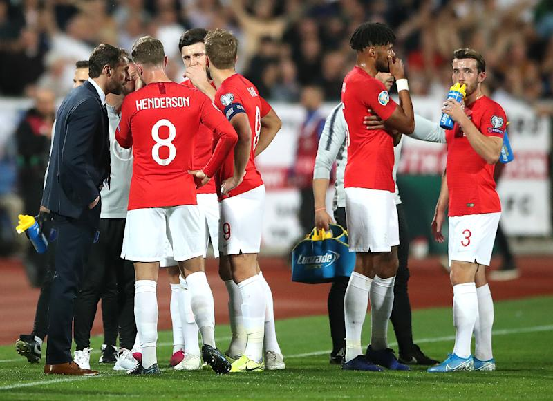 England manager Gareth Southgate (left) speaks to the players with regards to racist chanting from fans during the UEFA Euro 2020 Qualifying match at the Vasil Levski National Stadium, Sofia, Bulgaria. (Photo by Nick Potts/PA Images via Getty Images)