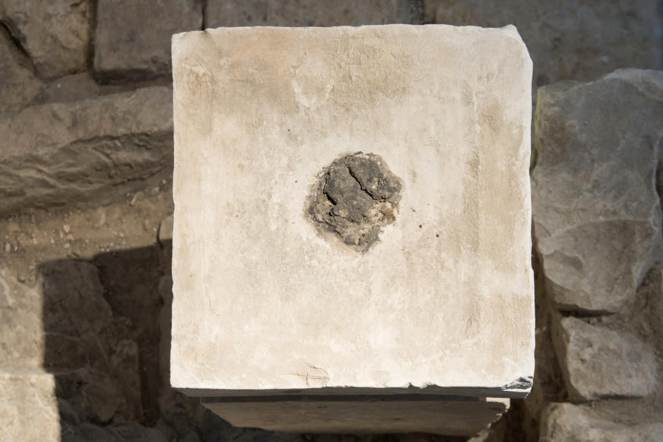 """This undated photo provided by the Israeli Antiquities Authority, an ancient altar is on display at the Israel Museum in Jerusalem. Israeli archaeologists said they've made a dope discovery, finding cannabis residue on artifacts from an ancient temple in southern Israel. They said it provides the first evidence of the use of hallucinogens in the Jewish religion. In a research paper, the authors said the discovery from an 8th century BC shrine offers the first proof for """"the use of mind-altering substances as part of cultic rituals in Judah,"""" including the first Jewish temple that stood in Jerusalem at the same time. Chemical analysis of the samples conducted at Israel's Hebrew University and Technion Institute found that one altar contained the psychoactive compounds found in marijuana. (Laura Lachman/Israeli Antiquities Authority/Israel Museum, via AP)"""