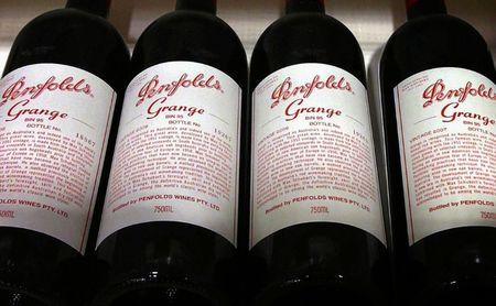 File photo of bottles of Penfolds Grange, made by Australian wine maker Penfolds and owned by Australia's Treasury Wine Estates, on a shelf for sale