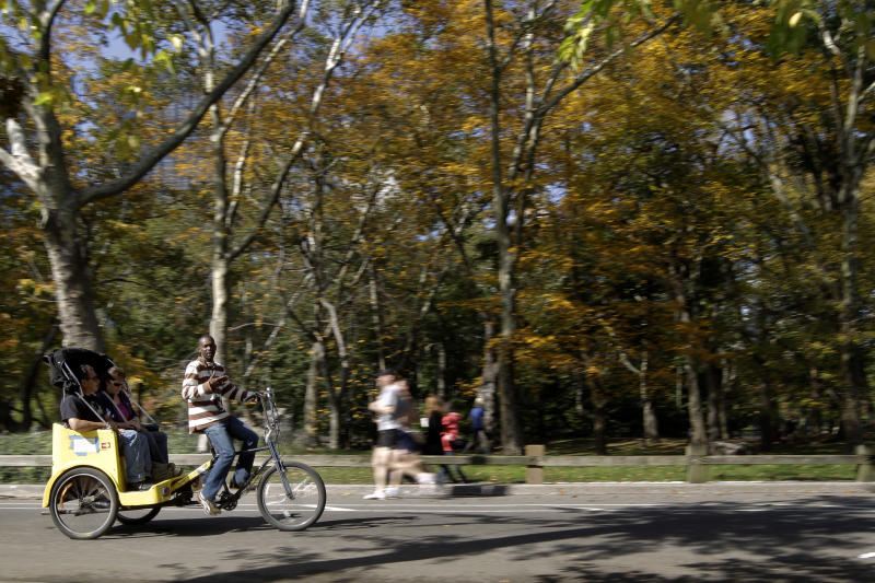 In this Saturday, Oct. 20 2012 photo, a pedicab driver takes a couple for a tour of New York's Central Park. Ever since a Texas family paid a pedicab driver $442 to ride 14 blocks in New York City this summer, city officials have been pushing for a simplified pricing structure so tourists don't get taken for a ride. (AP Photo/Mary Altaffer)