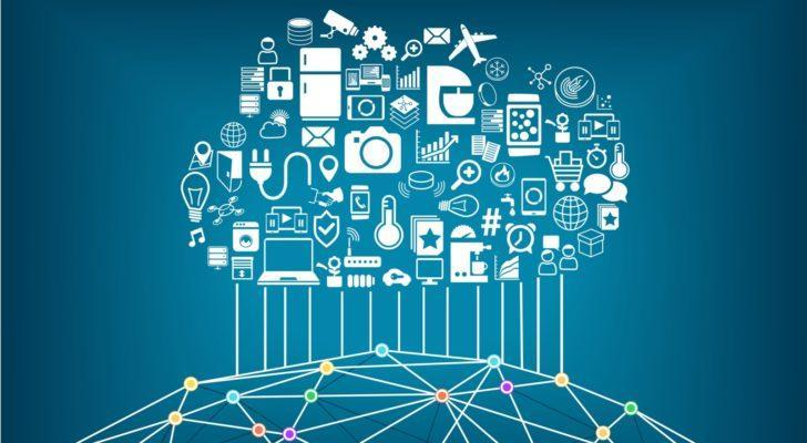 an image of a cloud comprised of various technologies raining down upon the world creating a connected grid