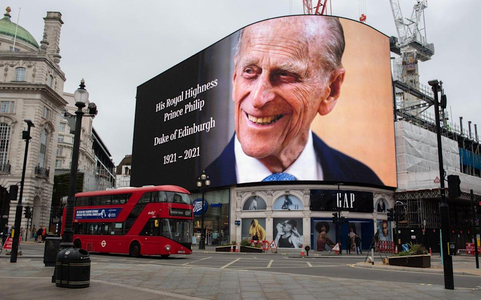 A billboard in Piccadilly Circus displays a remembrance tribute to Prince Philip, Duke Of Edinburgh - Samir Hussein/WireImage