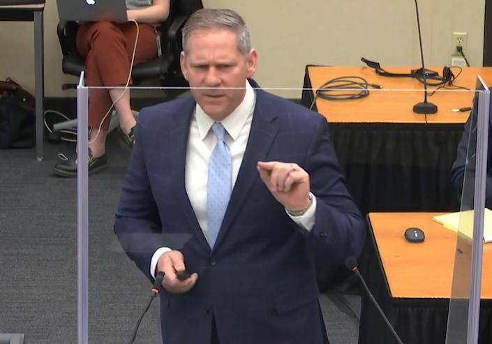 In this image from video, prosecutor Steve Schleicher gives closing arguments as Hennepin County Judge PeterCahill presides Monday, April 19, 2021, in the trial of former Minneapolis police Officer Derek Chauvin at the Hennepin County Courthouse in Minneapolis. Chauvin is charged in the May 25, 2020 death of George Floyd.  (Court TV via AP, Pool) (AP)