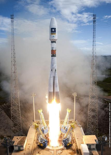 A Russian Soyuz rocket lifts off from the Guiana Space Center in Kourou, French Guiana, on a mission to deliver Europe's first two operational Galileo navigation satellites into orbit. The two satellites were ultimately deployed in the wrong or