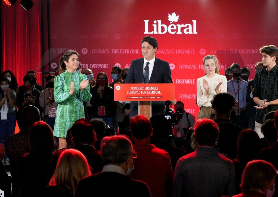 """<span class=""""caption"""">Prime Minister Justin Trudeau during his victory speech on election night, Sept. 21, 2021. </span> <span class=""""attribution""""><span class=""""source"""">THE CANADIAN PRESS/Paul Chiasson </span></span>"""