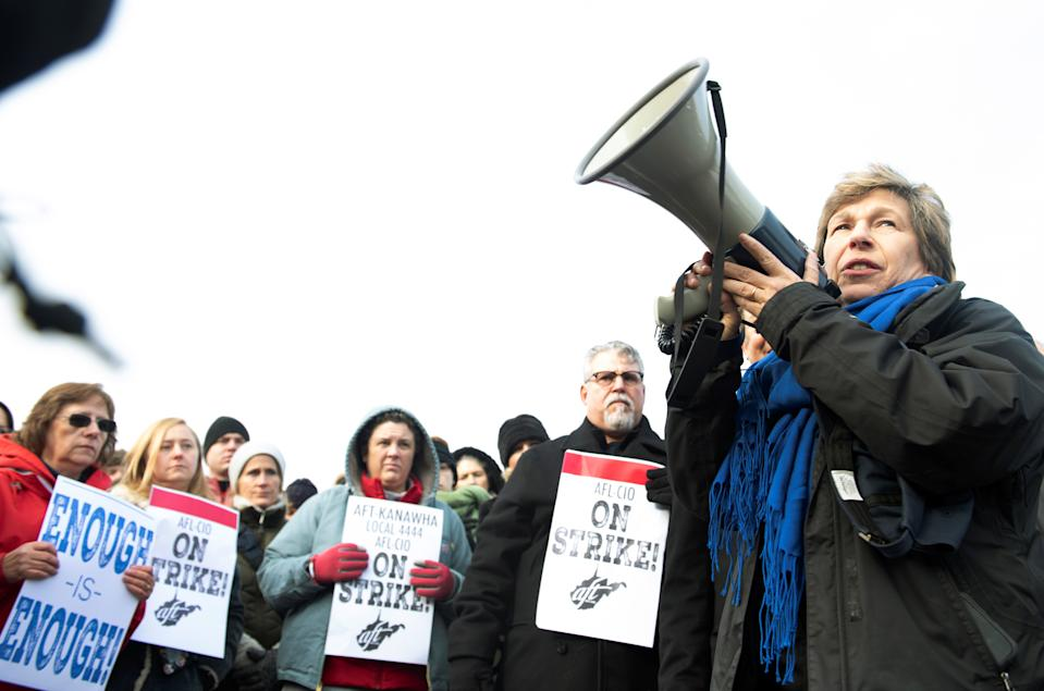 Randi Weingarten, president of the American Federation of Teachers, speaks before a crowd of striking educators at Capital High School in Charleston, West Virginia, U.S., February, 19 2019.  REUTERS/Lexi Browning