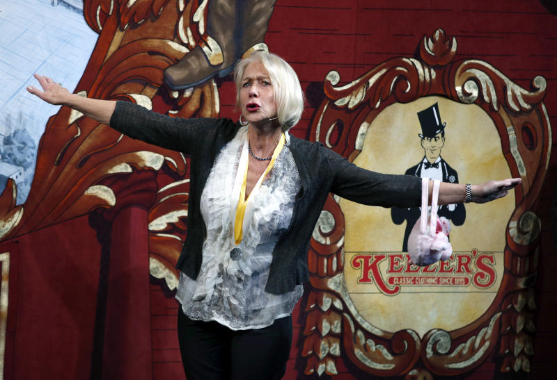Actress Helen Mirren acts onstage during her roast as woman of the year by Harvard University's Hasty Pudding Theatricals in Cambridge, Mass., Thursday, Jan. 30, 2014. (AP Photo)